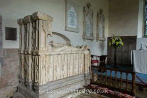 This tomb is to the memory of Sir Richard Croft Knt Sheriff of Herefordshire 14771-72-77-86 Fought at Mortimer's Cross 1461 Tewkesbury 1471 MP for Herefordshire 1477 Governor of Ludlow Castle Created Knight-Banneret After the Battle of Stoke 1487 Died July 29 1509 Also of Eleanor his wife Daughter of Sir Edmund Cornewall Baron of Burford Salop Widow of Sir Hugh Mortimer of Kyre