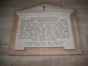 Eastnor-Herefordshire - St. John the Baptist - memorial plaque Wentworth Bell