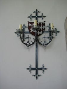 Hampton Court Castle - Herefordshire - Chapel - wall mounted candles