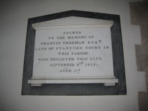 Stanford Bishop - Herefordshire - St. James - memorial plaque 2